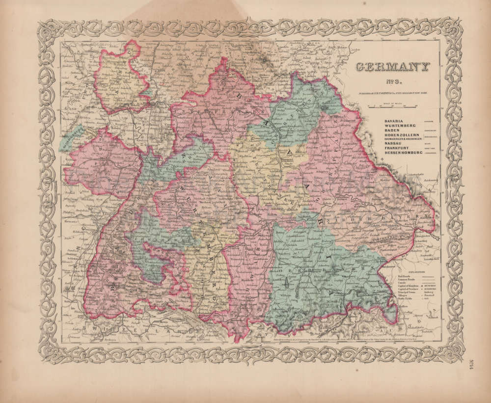 Map Of Germany For Sale.Germany No 3 Vintage Map Colton 1856