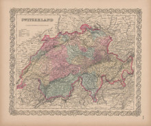 Switzerland Vintage Map Colton 1856
