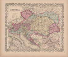 Austria Vintage Map Colton 1856