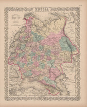 Russia Vintage Map Colton 1856