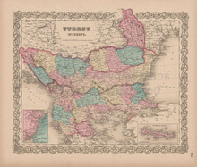 Turkey in Europe Vintage Map Colton 1856