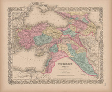 Turkey in Asia Vintage Map Colton 1856