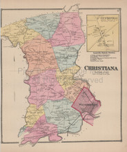 Christiana Delaware Antique Map Beers 1868