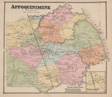 Appoquinimink Delaware Antique Map Beers 1868