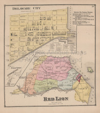 Red Lion Delaware Antique Map Beers 1868
