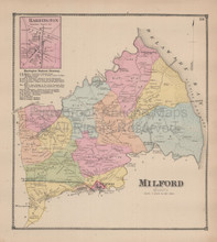 Town of Milford Delaware Antique Map Beers 1868