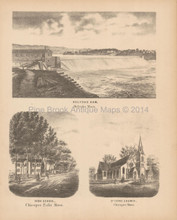 Holyoke Dam Chicopee Antique Print Beers 1870