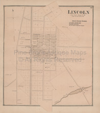 Lincoln Delaware Antique Map Beers 1868