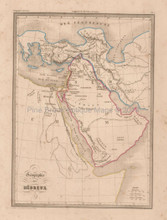 Hebrew Geography Antique Map Malte Brun 1850