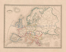 Ancient Europe Antique Map Malte Brun 1850