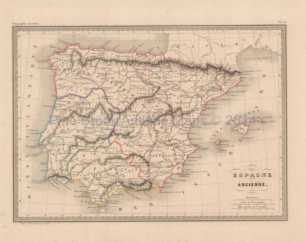 Ancient Spain Antique Map Malte Brun 1850 For Sale Original Spanish