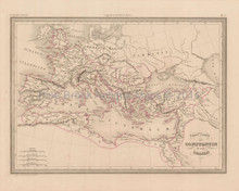 Empire of Constantine Antique Map Malte Brun 1850