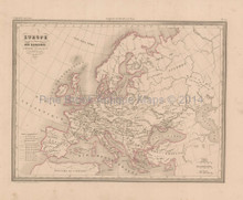 Barbarian Invasion Europe Antique Map Malte Brun 1850