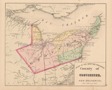 Gloucester County New Brunswick Antique Map Roe 1878