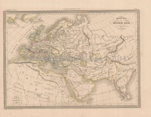 Empire of Charlemagne Antique Map Malte Brun 1850