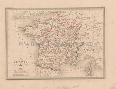 Map Of France In 1789.Original France In 1789 Antique Map Malte Brun 1850 For Sale Home