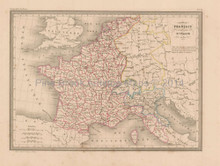 French Empire in 1812 Antique Map Malte Brun 1850