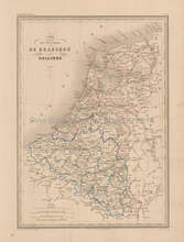 Belgium Holland Antique Map Malte Brun 1850