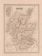 Scotland Antique Map Malte Brun 1850