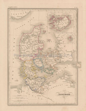 Denmark Antique Map Malte Brun 1850