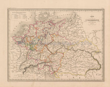 Germany Antique Map Malte Brun 1850
