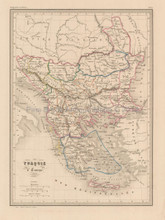 Turkey in Europe Antique Map Malte Brun 1850