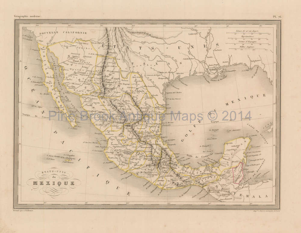 Mexico Map 1850.Authentic Mexico Antique Map Malte Brun 1850 For Sale Home Decor