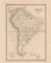 South America Antique Map Malte Brun 1850
