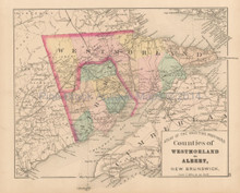 Westmorland Albert County NB Antique Map Roe 1878