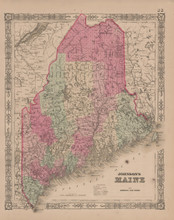 Maine Antique Map Johnson 1865
