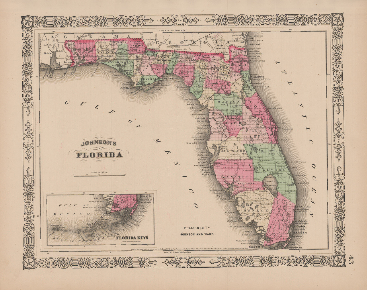 Antique Map Of Florida.Original Florida Antique Map Johnson 1865 For Sale Home Decor Ideas