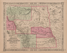 Colorado Montana Nebraska Dakota Antique Map Johnson 1865