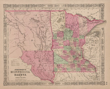 Minnesota Dakota Antique Map Johnson 1865