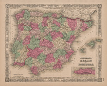 Spain Portugal Antique Map Johnson 1865