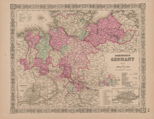 Northern Germany  Antique Map Johnson 1865