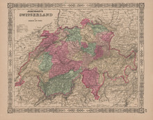 Switzerland Antique Map Johnson 1865
