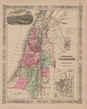 Palestine Antique Map Johnson 1865
