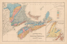 Maritime Provinces Geological Antique Map Roe 1878