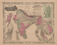 Hindostan British India Antique Map Johnson 1865