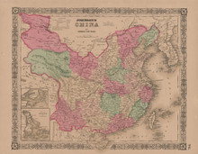 China Antique Map Johnson 1865