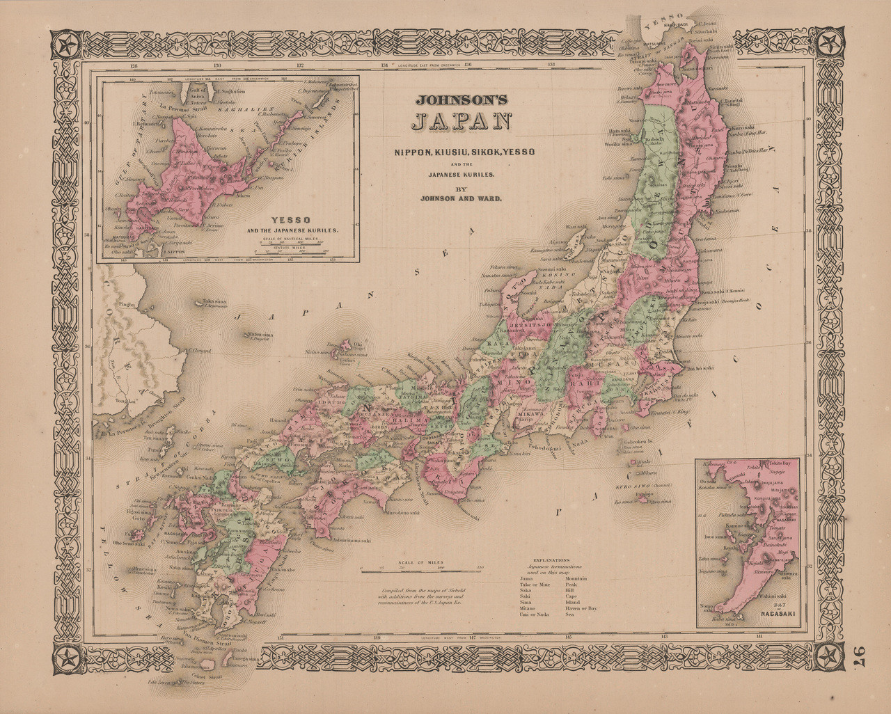 Japan Antique Map Johnson 1865