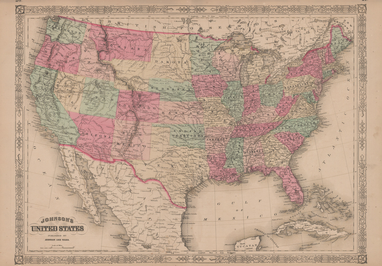 United States Antique Map Johnson 1865