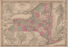 New York State Antique Map Johnson 1865