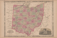 Ohio Antique Map Johnson 1865