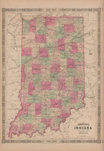 Indiana Antique Map Johnson 1865
