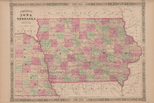 Iowa Nebraska Antique Map Johnson 1865