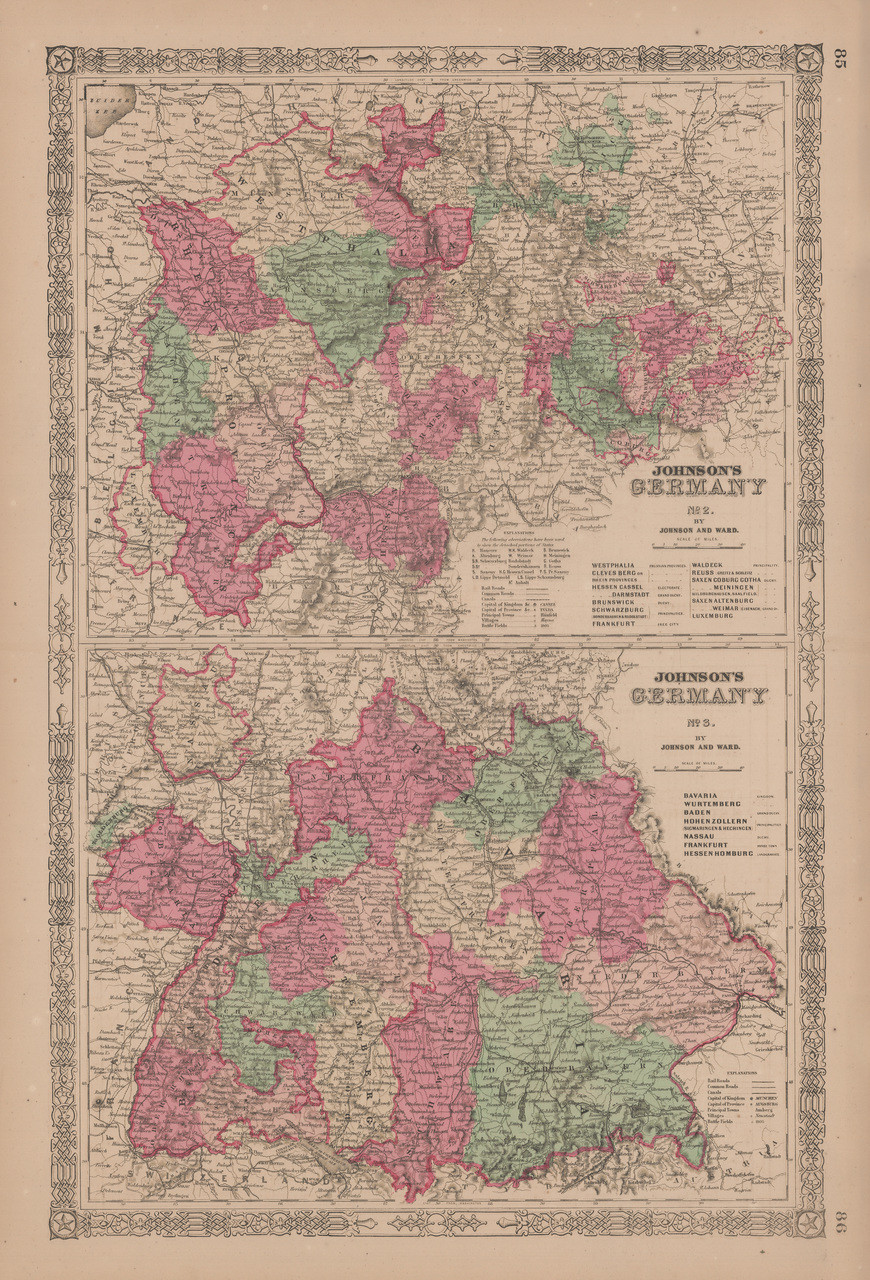 Southern Germany Antique Map Johnson 1865