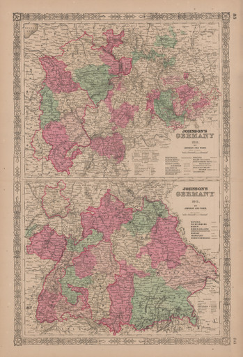 Authentic Southern Germany Antique Map Johnson 1865 For Sale Home