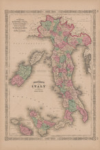 Italy Antique Map Johnson 1865