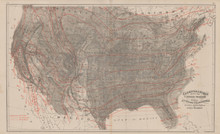 United States Climate Antique Map Gray 1876